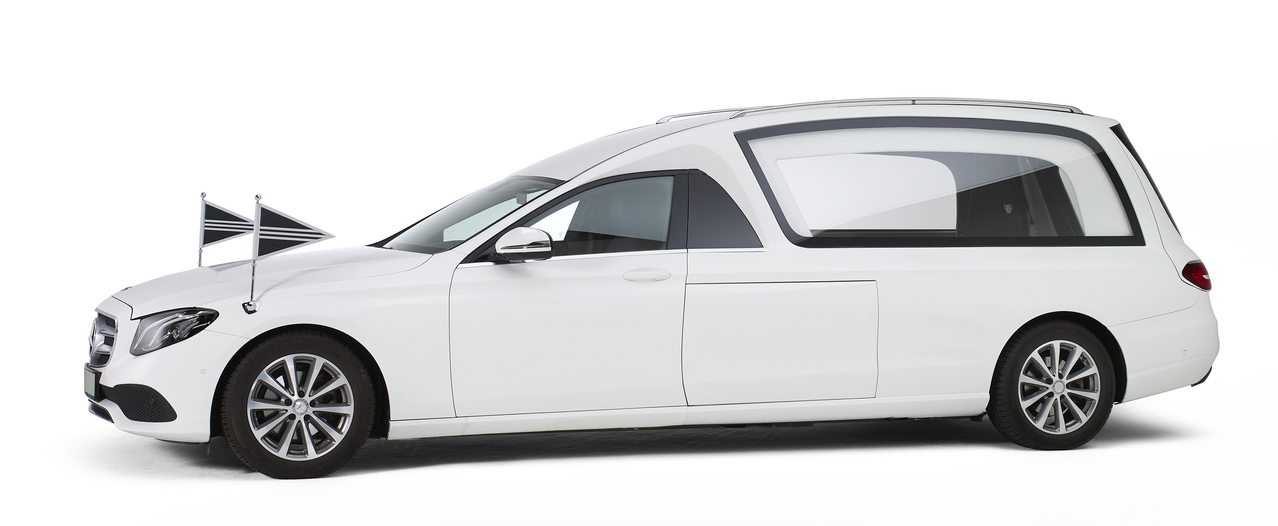 Mercedes wit – Glas Rouwauto